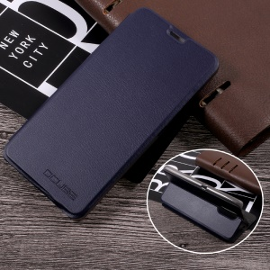 Litchi Texture Leather Stand Cell Phone Case for Ulefone Gemini - Dark Blue
