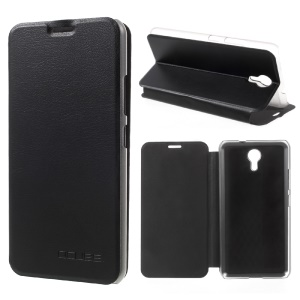 Mobile Phone Leather Shell with Stand for Ulefone Power 2 - Black