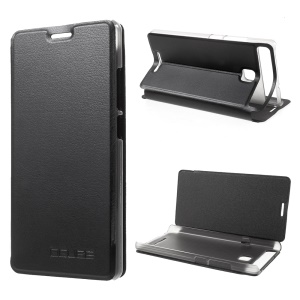 PU Leather Stand Cell Phone Case for Vernee Thor E - Black
