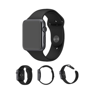 XINCUCO pour Apple Watch 38mm Series 3 Series 2 Series 1 Silicone Sport Watch Band - Noir