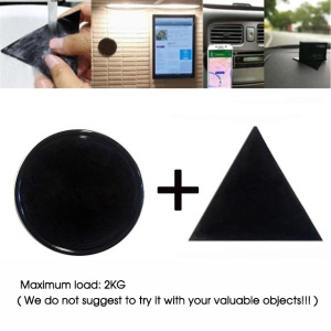 2PCS Round and Triangle Shaped Magical Gel Pad Anti-slip Mat Wall Sticker Car Mobile Phone Bracket Mat