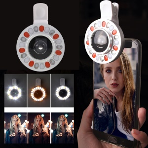 3 Light Colors Adjustable 21 LEDs Rotary LED Fill Light + 0.4x Wide Angle Lens for iPhone Samsung - Silver Color