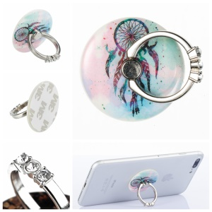 Patterned Universal Cellphone Desktop Mount Stand Finger Grip Holder for iPhone 8, Samsung Note 8 - Dream Catcher