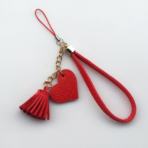 Simulation Heart Pendant PU Leather Straps Phone Chain Phone Decor - Red
