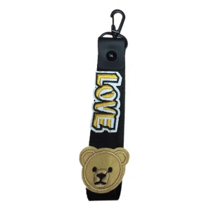 Detachable Smartphone Wrist Strap Hand Strap Wide Cloth Key Strap - Black / Bear