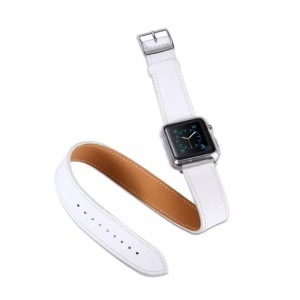 KAKAPI for Apple Watch 38mm Double Tour Genuine Leather Band - White
