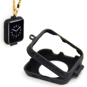 Luxury Diamond Pocket Watch Protective Case with Chain for Apple Watch Series 3/2/1 38mm - Black