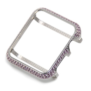 Luxury Diamond Decor Watch Protective Frame Case for Apple Watch Series 3/2/1 42mm - Silver / Pink
