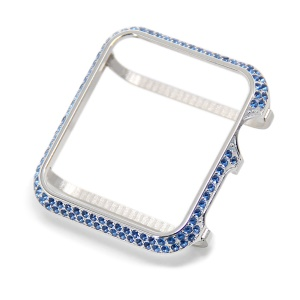 Luxury Diamond Decor Watch Protective Shell Case for Apple Watch Series 3/2/1 42mm - Silver / Blue