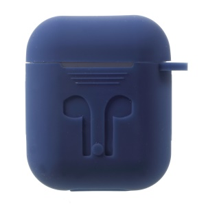 Drop-proof Soft Silicone Holder Case for Apple AirPods with Charging Case (2016) - Dark Blue