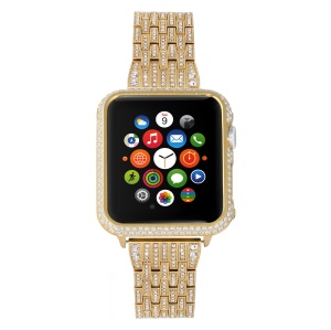 Metal Rhinestone Decor Watch Band + Protective Case for Apple Watch Series 4 40mm / Series 3 2 1 38mm - Gold Color