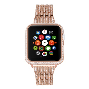 Metal Rhinestone Decor Watch Bracelet + Protective Frame for Apple Watch Series 4 40mm / Series 3 2 1 38mm - Rose Gold Color
