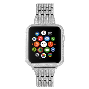Metal Rhinestone Decor Watch Bracelet + Guard Case for Apple Watch Series 3/2/1 42mm - Silver Color