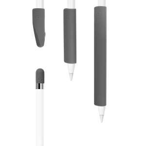 Non-Slip Silicone Case Sleeve Protector Wrap Kit for Apple Pencil - Dark Grey