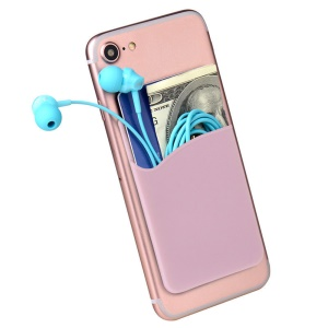 Silicone Adhesive Credit Card Pocket Money Pouch Holder Cover for Cell Phone - Pink