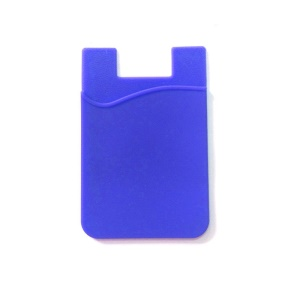 Silicone Adhesive Card Pouch Sticker Credit Card Holder for Cell Phone - Blue