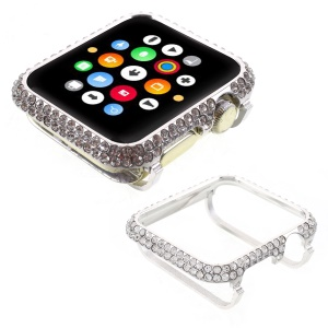 Shiny Rhinestone Decorated Metal Protective Case for Apple Watch Series 3/2/1 38mm - Silver