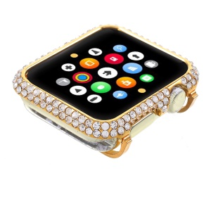 Bling Rhinestone Decorated Metal Protective Case for Apple Watch Series 3/2/1 42mm - Gold