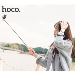 HOCO K5 Neoteric Extendable 3.5mm Plug Wire Controllable Selfie Stick for iPhone Samsung Huawei - Pink