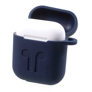 Anti-lost Silicone Gel Protective Cover with Carabiner for Apple AirPods - Blue