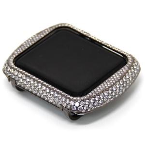 Shiny Rhinestone Decorated Metal Protective Case for Apple Watch Series 3/2/1 38mm - Black