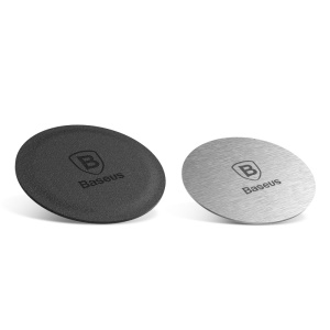 2Pcs/Set BASEUS Magnetic Bracket Iron Suit for Magnetic Car Phone Holder (1 Magnet Iron and 1 Leather Magnet Iron)