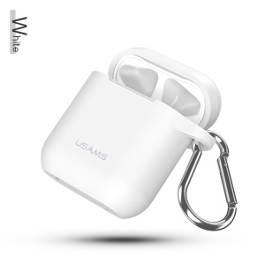 USAMS US-BH423 Drop-proof Anti-lost Silicone Case for Apple AirPods Charging Case with Lanyard and Carabiner - White