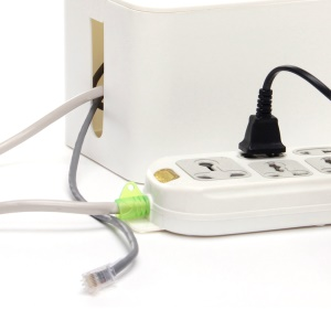 ABS Multi-function Cable Cord Organizer Box Power Strip Storage Box - White