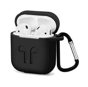 4-in-1 Dust-proof Shock-proof Silicone Case for Apple AirPods Charging Case with Hook, Keychain and Anti-lost Strap - Black
