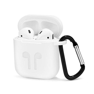 4-in-1 Dust-proof Shock-proof Silicone Cover for Apple AirPods Charging Case with Hook, Keychain and Anti-lost Strap - White