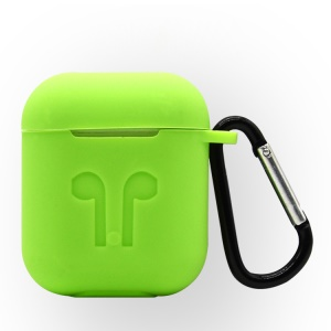 4-in-1 Dust-proof Shock-proof Silicone Case Cover for Apple AirPods Charging Case with Hook, Keychain and Anti-lost Strap - Green