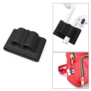 Rubberized Silicone Protective Sleeve Watch Band Holder for Apple AirPods Wireless Earphones - Black