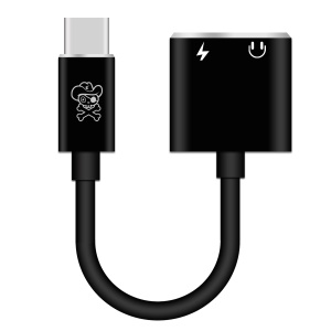 HAT PRINCE USB Type-C to 3.5mm Jack Aux Audio + Type-C Female Charging Port Cable Adapter - Black