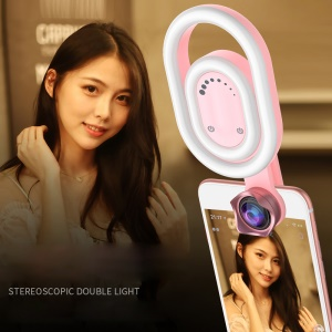 D1 Foldable Selfie Stereoscopic Clip-on Light Adjustable 56 LEDs Beauty LED Fill Light + Macro and Wide Angle Lens