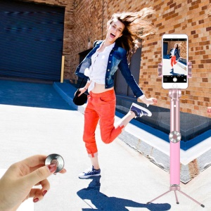 SK16 Extendable Selfie Stick + Bluetooth Self Timer Remote + Tripod + Wide Angle and Macro Lens - Pink