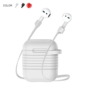 BASEUS Silicone Protection Cover with Anti-lost Headphone Strap for AirPods - Gray