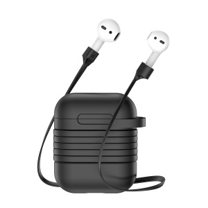 BASEUS Silicone Protection Shell with Anti-lost Headphone Strap for AirPods - Black