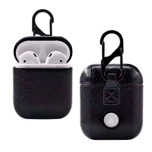 Genuine Leather Case with Hook Keychain for Apple AirPods Charging Case - Black