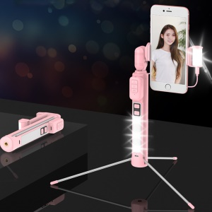 CYKE A18 Multi-funcional Bluetooth LED Preenchimento Luz Selfie Vara LED Com Tripé Para Iphone X / 8/8 Plus Etc - Rosa