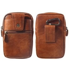 Multi-function PU Leather Pouch Bag with One Hook for iPhone XS Max / Huawei Mate 10 Pro etc - Brown