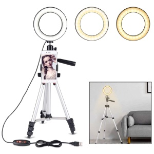 5.7 inch Ring Light LED Camera Light with Tripod Stand Cell Phone Holder Desktop LED Lamp for Video Shooting and Makeup with 3 Light Modes and 10 Brightness Levels