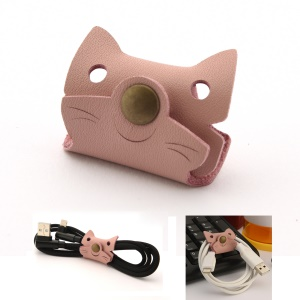 Cartoon Cat Pattern Genuine Leather Cable Cord Wire Earphone Bobbin Winder Organizer - Pink