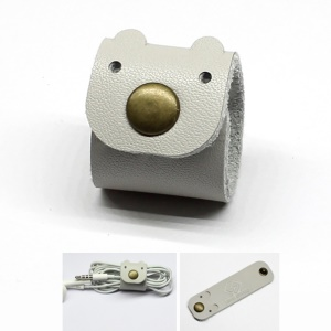 Cartoon Bear Pattern Genuine Leather Cable Cord Wire Earphone Bobbin Winder Organizer - Grey