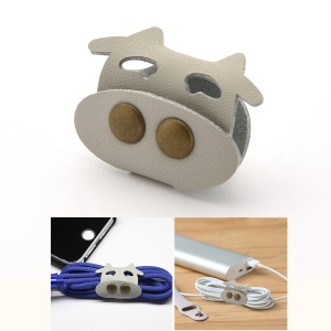 Cartoon Cattle Pattern Genuine Leather Cable Cord Wire Earphone Bobbin Winder Organizer - Grey