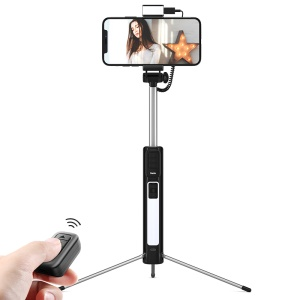 BENKS Multi-functional Bluetooth LED Fill Light Selfie Stick LED with Tripod for iPhone XS/X Etc - Black