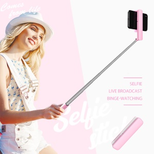 Foldable Wirless Bluetooth Selfie Stick with Tripod for iPhone XS/X Etc - Pink