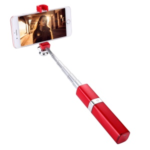 Aluminum Alloy Extendable Mini Lipstick Wired Selfie Stick - Red