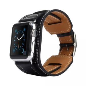 KAKAPI Bracelet Style Genuine Leather Watchband for Apple Watch 42mm - Black/Rectangular Closure