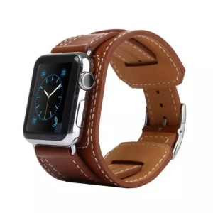 KAKAPI Bracelet Style Genuine Leather Wristband for Apple Watch 42mm - Coffee/Rectangular Closure
