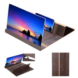12-inch High Definition Wooden Mobile Video Screen Magnifier with Stand - Coffee